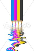 Cmyk pencils Stock Photos