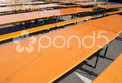 External festival table and benches in a traditional italian festival Stock Photos