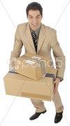 Geschäftsmann mit Paketen Stock Photos