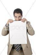 Geschäftsmann mit Schild in der Hand Stock Photos