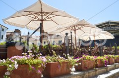 External wooden furniture for a italian style pub Stock Photos
