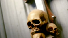 Slow Outward movement of Skulls Stock Footage
