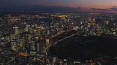 Tokyo night view from a height Stock Footage