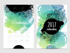 Vector calendar with brush stain. 2017 Stock Illustration
