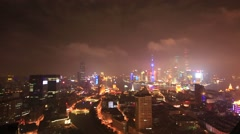 Shanghai,China: Night view of Shanghai cityscape Stock Footage