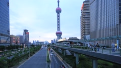 Shanghai,China- Downtown area of Shanghai city Stock Footage