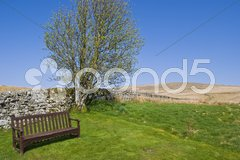 Beautiful resting place in a hilly scenery Stock Photos