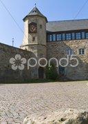 Auusicht von Burg Waldeck auf den Edersee Stock Photos