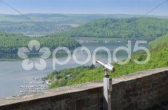 Burg Waldeck Blick auf den Edersee Stock Photos