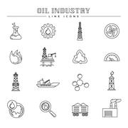 Oil industry and energy, line icons set Stock Illustration