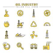 Oil industry and energy yellow fill icons Stock Illustration