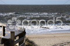 Schild am Strand von Kampen auf Sylt Stock Photos
