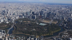 Japan Tokyo skyline, from a height (view from the helicopter) Stock Footage
