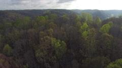 Flying Over Lush Green Hills Towards Spectacular Bridge Stock Footage