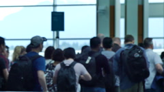 People boarding airposrt terminal gate Stock Footage