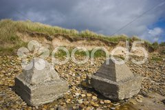 Military decay on the beach of Dunnet Bay Stock Photos