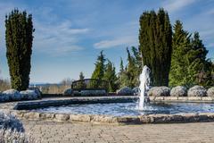 Water fountain feature in a garden Stock Photos