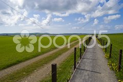 Sandy road and footpath vanishing in the distance in a flat landscape Stock Photos