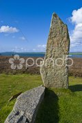 Standing stone split by lightning belonging to the Ring of Brodgar Stock Photos