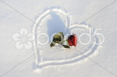 Herz Liebe Schnee Stock Photos