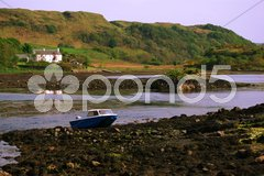 Beautiful scenery at the Isle of Seil looking over to scottish mainland Stock Photos
