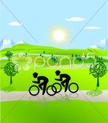 Fahrradfahren Landschaft Stock Photos