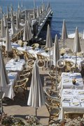 Seafront restaurant. Cannes. Cote d'Azur. France Stock Photos