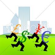 Währungs Wettlauf Stock Photos