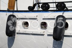 Fenders on motorboat. Cannes. Cote d'Azur. France Stock Photos