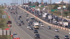Busy highway with traffic flowing Stock Footage