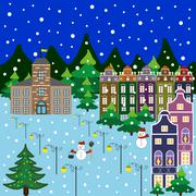 Festive winter city Stock Illustration