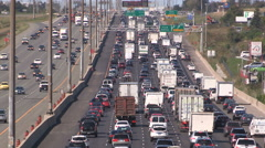 Heavy traffic jam and gridlock on highway Stock Footage