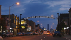 Looking west on Danforth Avenue. Greektown in Toronto, Canada. Stock Footage