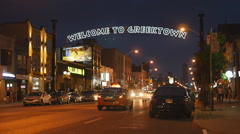 Danforth avenue and Greektown sign at night in Toronto, Canada. Stock Footage