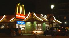 24 Hours McDonalds restaurant. Pape Avenue, Toronto, Canada. Stock Footage