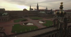 Camera flies over the eastern side of Zwinger Palace Stock Footage