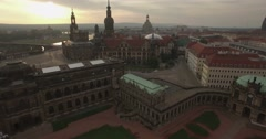 Camera flies backwards away from the Dresden skyline Stock Footage