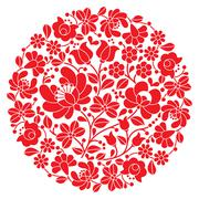 Kalocsai folk art embroidery - red Hungarian round floral folk pattern Stock Illustration