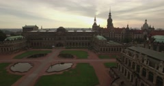 Camera flies sideways past a dome at the Zwinger Palace Stock Footage