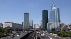 4K Paris Timelapse La Defense Financial District Traffic, Aerial Grand Arch View Stock Footage