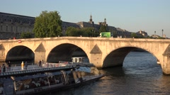 4K Seine River in Paris, Boats and Ships Traveling with Tourists People, France Stock Footage