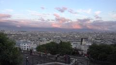 4K People Tourists Visiting Paris by Sacre Coeur Church, Basilica Montmatre View Stock Footage