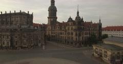 Camera flies sideways past Hofkirche Dresden Stock Footage