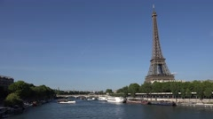 4K Eiffel Tower in Paris by Day, Traffic Tourboat with Tourists on Seine Stock Footage