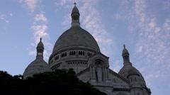 4K Timelapse Paris, Sacre Coeur Church in Sunset, Sacré-Cœur Basilica in France Stock Footage