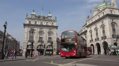 4K London Traffic at Piccadilly Circus, People Tourists Walking, Crossing Street Stock Footage
