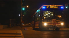 Toronto Transit Commission or TTC bus at night. Toronto, Canada. Stock Footage