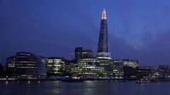 4K London Shard Hotel by Night, Thames River with Boats, Ships Cruise in Evening Stock Footage
