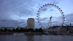 4K London Eye, Thames River and Tourists Boats, Ships in Sunset, People Visit UK Stock Footage