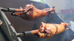 Grilled pork and chicken meat, lamb roasted on a spit - street food festival  Stock Footage